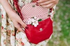 Rote Tasche der Nahaufnahme in den Händen der Frau auf der Straße Stockfotografie