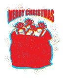 Rote Tasche Santa Clauss in der Schmutzart Spray und Kratzer geräusche Lizenzfreies Stockbild