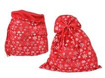 Rote Tasche Santa Clauss mit Schneeflockenmuster Lizenzfreies Stockbild