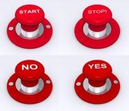Rote Tasten für Anschlag u. Anfang lizenzfreie abbildung