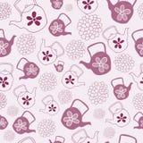 Rote Teekannen-nahtloser Muster-Entwurf vektor abbildung