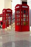 Rote Telefonzellen in der britischen Art in populärem Einkaufs- und Unterhaltungsbereich Soho-Quadrat, Sharm el Sheikh, Ägypten Stockbild