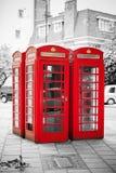 Rote Telefonzellen London, England Stockfotografie