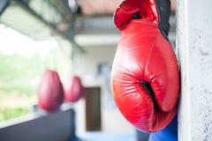 Rote thailändische Boxhandschuhe Muay, die herein an der Ecke des Boxrings hängen lizenzfreie stockfotos