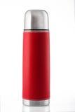Rote Thermosflasche lokalisiert auf weißem Hintergrund stockfotos
