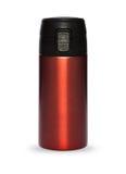 Rote Thermosflaschesammlung lokalisiert auf weißem Hintergrund Lizenzfreie Stockfotos