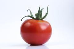 Rote Tomate auf einem weißen Hintergrund Stockfotografie