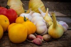 Rote Tomate, gelbe Tomaten, Knoblauch, Zwiebel auf einem hölzernen Brett Lizenzfreies Stockfoto