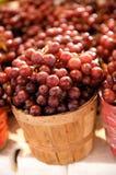 Rote Trauben in einem Korb Stockfotos