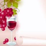 Rote Trauben mit Wein. Menü Lizenzfreie Stockfotos