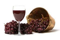 Rote Trauben und ein Glas Wein Stockfotos