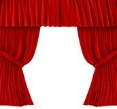 Rote Trennvorhänge über Weiß Stockfotografie