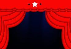Rote Trennvorhang-blauer Leuchte-Stern-Stufe-Hintergrund Lizenzfreies Stockbild