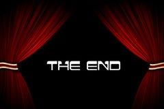 Rote Trennvorhänge und Text im Kino oder im Theater Lizenzfreies Stockfoto