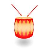 Rote Trommel mit Trommelstöcken mit Schatten auf einem weißen Hintergrund vektor abbildung