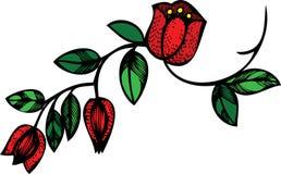 Rote Tulpe- und Blattblumenauslegung Lizenzfreies Stockfoto