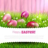 Rote Tulpe und farbige Eier Lizenzfreies Stockbild