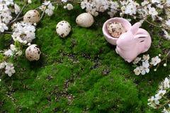 Rote Tulpe und farbige Eier Ei, blühende Baumaste des Frühlinges und Dekor Stockfotos