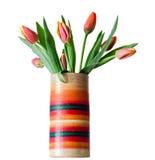Rote Tulpen blüht in einem farbigen Vase, Abschluss oben, lokalisierter, weißer Hintergrund Lizenzfreies Stockbild