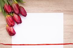 Rote Tulpen mit Wei?buch auf einem h?lzernen Hintergrund stockfoto