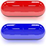 Rote u. blaue Pillen Stockbild