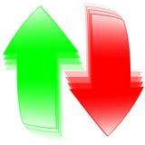 Rote u. grüne Pfeile Stockfotografie