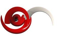 Rote u. weiße abstrakte Formen Stockfoto
