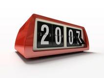 Rote Uhr - Gegen auf neuem Jahr des weißen Hintergrundes stockbild