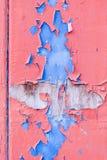 Rote und blaue abgeblätterte Farbe auf Holztür Stockfotografie