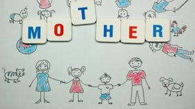 Rote und blaue Buchstaben bilden Phrase Muttertag Stoppen Sie Bewegung stock video footage