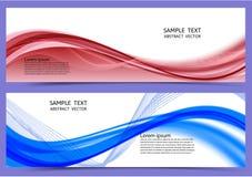 Rote und blaue Farbgeometrischer abstrakter Fahnenhintergrund mit Kopienraum, Vektorillustration für Ihr Geschäft lizenzfreie abbildung