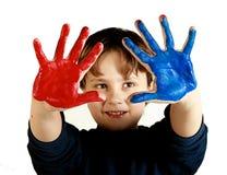 Rote und blaue Hände Stockfoto