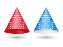 Rote und blaue Partei-Hüte Lizenzfreie Stockfotos