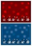Rote und blaue Weihnachtsgrüße Stockfotografie