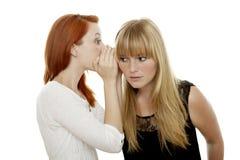 Rote und blonde behaarte Mädchen, die ein Geheimnis erklären Stockfotografie