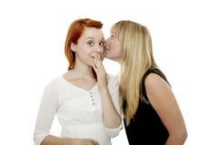 Rote und blonde behaarte Mädchen, die ein Geheimnis erklären Lizenzfreie Stockfotografie