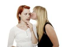 Rote und blonde behaarte Mädchen entsetzt, um Geheimnis zu hören Stockfotografie