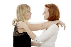 Rote und blonde behaarte Mädchen sind zusammen glücklich Stockbilder
