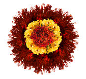 Rote und gelbe Blume machen von getrockneten Blumenblättern Lizenzfreies Stockbild