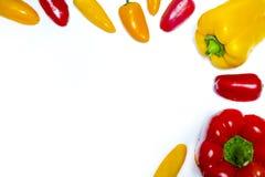 Rote und gelbe bulgarische Pfeffer Stockfotos