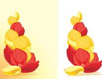 Rote und gelbe rosafarbene Blumenblätter Lizenzfreies Stockfoto