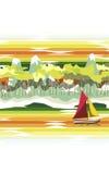 Rote und gelbe Segel stock abbildung
