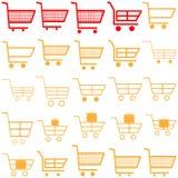 Rote und gelbe Warenkörbe - Ikonen Lizenzfreies Stockfoto