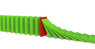 Rote und grüne Abbildungen von Dominos Stockfoto