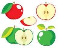 Rote und grüne Apfelvektorsammlung Lizenzfreies Stockbild
