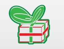 Rote und grüne Geschenk-umreiß-Grafik Stockbild