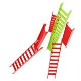 Rote und grüne glatte Leitern lokalisiert auf Weiß Lizenzfreie Stockfotografie