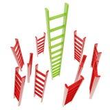 Rote und grüne glatte Strichleiter getrennt Stockfotografie