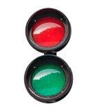 Rote und grüne kleine runde Ampel Lizenzfreie Stockfotografie