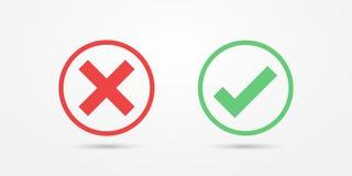 Rote und grüne Kreisikonen-Häkchenikone lokalisiert auf transparentem Hintergrund Genehmigen Sie und annullieren Sie Symbol für P stock abbildung
